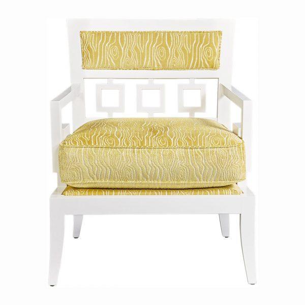 (U-226) Zemira Chair | Fabric: (2759-C) Rivers - Citron | Finish: Wood - Porcelain
