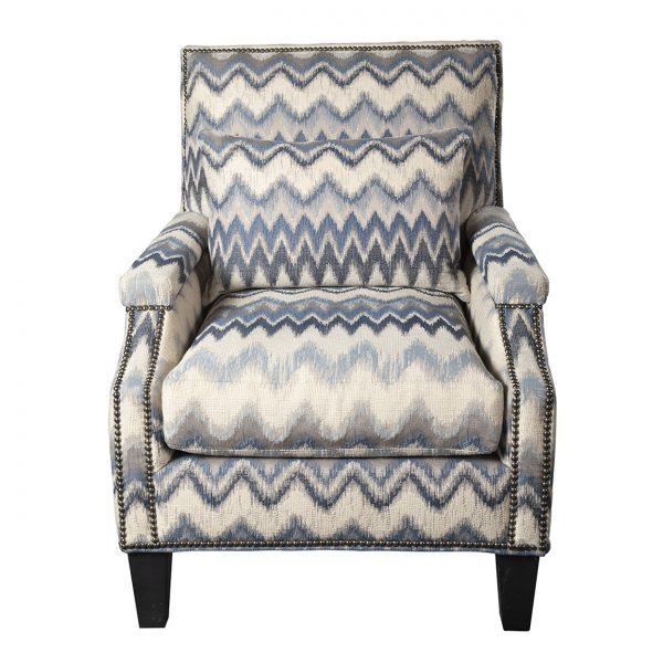 (U-229) Micah Chair   Fabric: (3119) Zippity   Finish: Wood - Heron   Nails: Tyler
