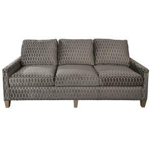 (U-230) Tobiah Sofa   Fabric: (3136-G) Crisanta - Graphite   Finish: Wood - Champagne   Nails: Tyler