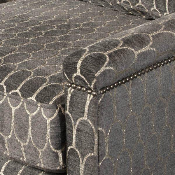 (U-230) Tobiah Sofa | Fabric: (3136-G) Crisanta - Graphite | Finish: Wood - Champagne | Nails: Tyler