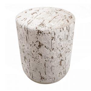 (U-250) Bongo Ottoman   Fabric: (3218-I) Stonewash - Ivory   Finish: Wood - Travertine