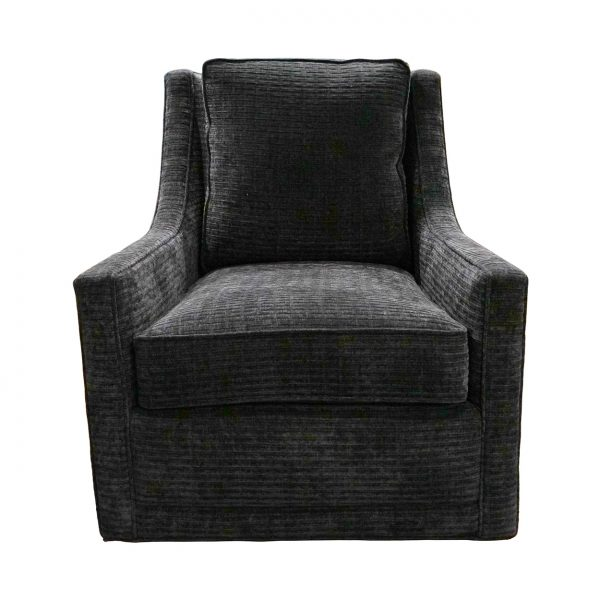 (U-252) Levi Swivel Chair | Fabric: Lift-Black (3211-B)