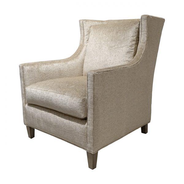 (U-253) Hollis Chair | Fabric: Tiara-Cream (3201-C) | Finish: Wood-Fog